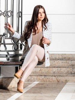 Spodnie Alice - beżowe legginsy z wysokim stanem