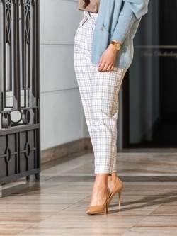 Spodnie Sorento  białe w błękitno beżową kratkę