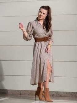 Zwiewna beżowa sukienka Santorini w delikatny print